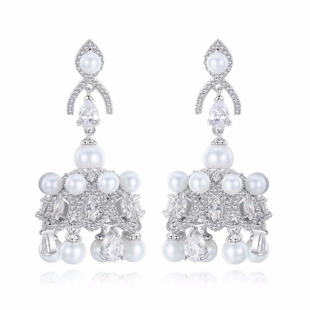 Gorgeous India Bollywood Woman Plated White golden Jhumki Artificial Pearl Eardrop Copper AAA Zircon Chandelier Earrings