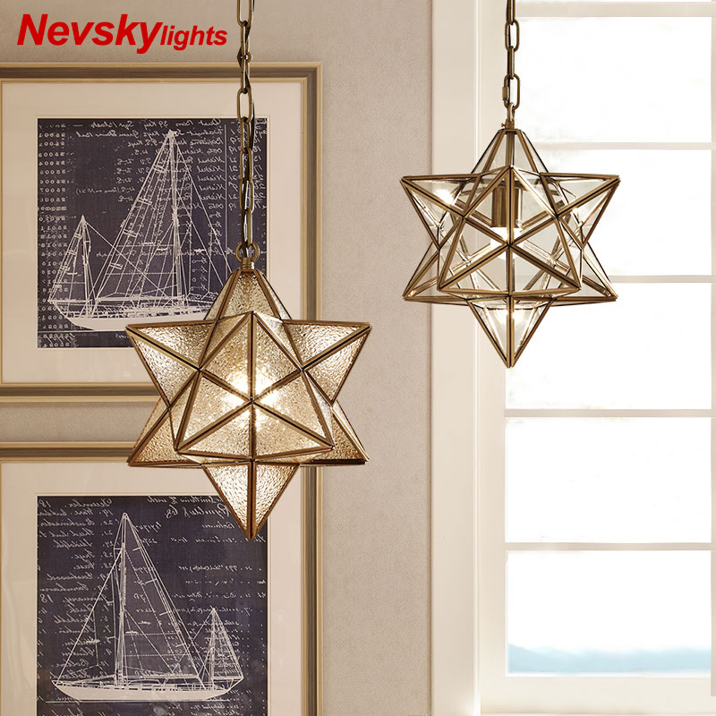 Loft decor star Copper Pendant Lights For dining room lustre salon modern Lighting suspension luminaire Light