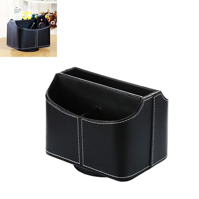 Storage Box Organizer High Grade PU Leather Desk Storage Container case for Desktop Mobile Phone Remote Control 5 Compartments