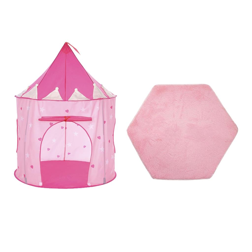 Folding Luminescent Mongolia Pop Up Playhouse Princess Tent + Floor Cushion Carpet Kids Toy Indoor Outdoor Folding Tent Toys
