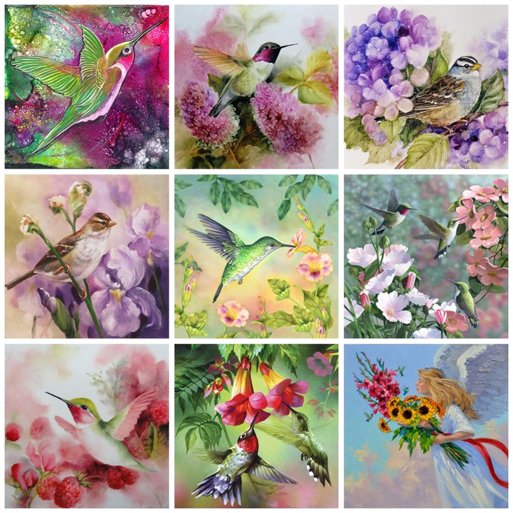 3D DIY Diamond Painting Animal Diamond Embroidery Needlework Crafts Best Full Love Birds & Flowers Home Decor Mosaic image