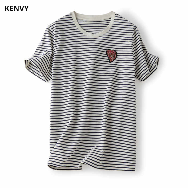 5f1c8ce3f9 KENVY Brand Fashion Women s High-end Luxury Loose Love stripe Cotton  Diamonds Short-sleeved