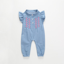VTOM Cowboy Embroidery Rompers Jumpsuit Newborn Baby Girl Ruffles Denim Romper Sunsuit Playsuit Outfit Clothes Summer summer kids baby girl cotton knitted pleated ruffles sleeveless romper princess sunsuit overalls jumpsuit long trousers clothes