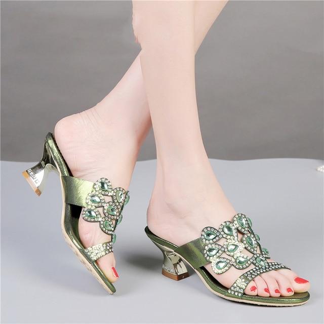 2017 de Zapatos Nuevas Verde Diamantes Zapatillas Altos Barato Chunky Casuales Tacones Lujo Sandalias Mejor de xrA7wqEx