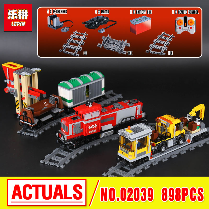 Lepin 02039 Genuine 898Pcs City Series The Red Cargo Train Set Building Blocks Bricks Educational Christmas Gifts 3677 boys girl little red train s race to the finish