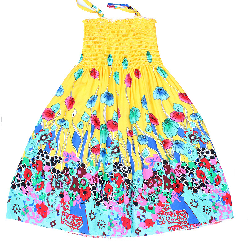 Kids clothing summer dresses for girls summer style 2 14years floral print cotton bohemian party sundress