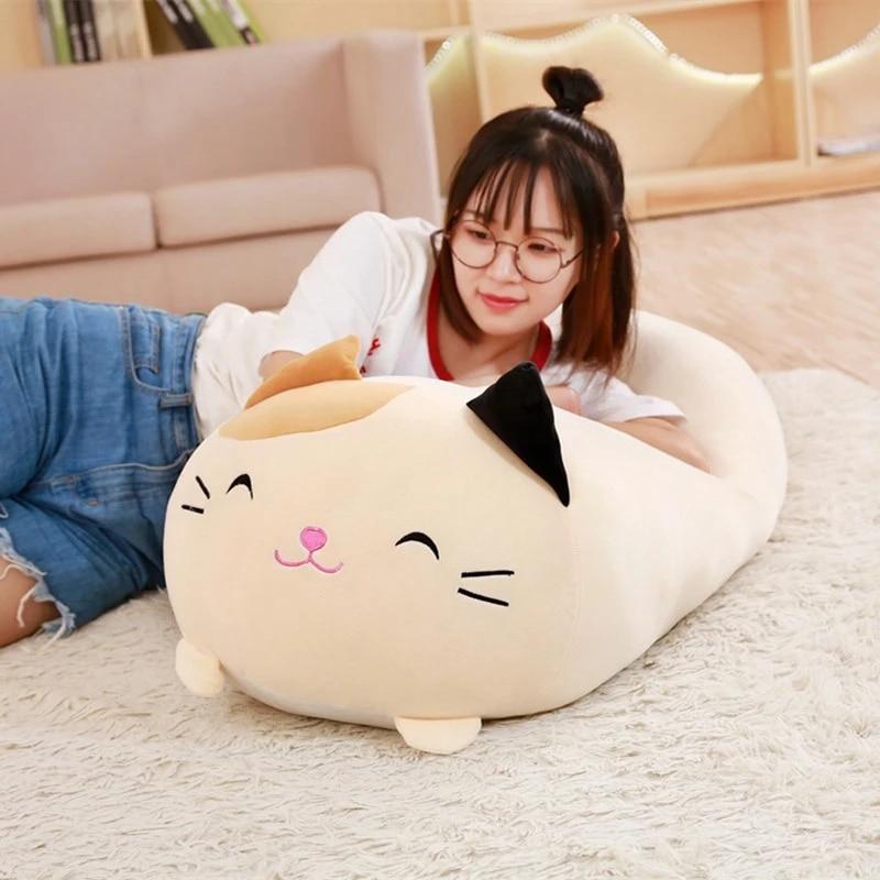 Cute Elastic Cat Sofa Pillow,Comfortable Cat Home Decor Pillow Seat Cushion for Boys or Girls Room,Cat Shaped Cushion Stuffed Animal Pillow