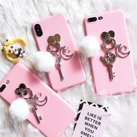 Luxe Zachte Siliconen & Plastic 3D Vinger Ring Sailor Moon Roze Mobiele Telefoon Behuizing voor iPhone7 7 Plus Coque Funda mobiel Covers