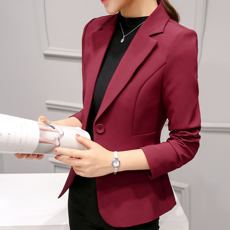 new arrival Korean solid color suit Slim thin casual single button comfortable OL temperament fashion outdoor elegant suit