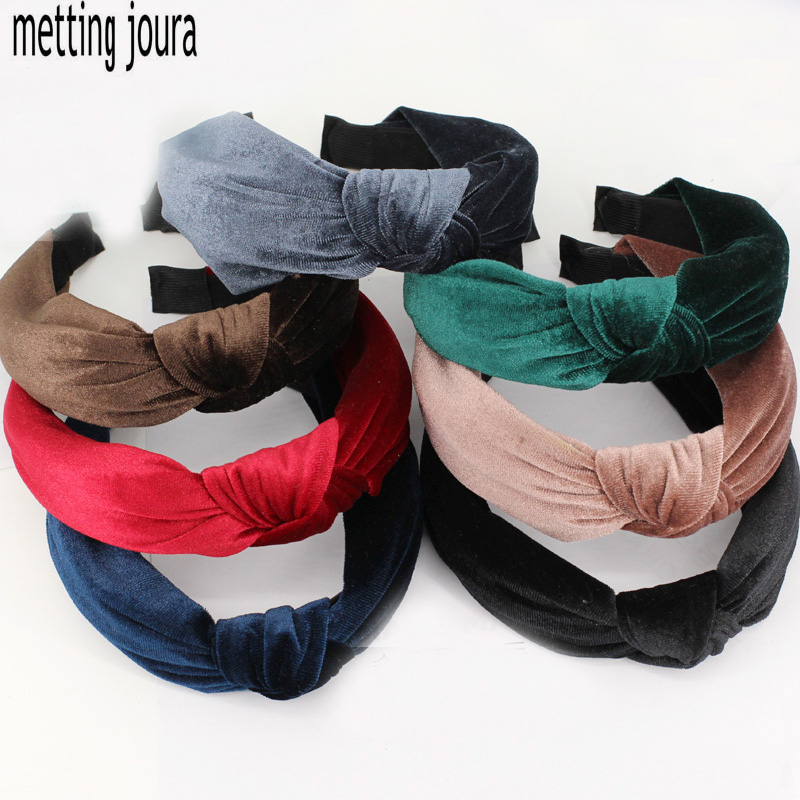 Metting Joura Bohemian Autumn Winter Vintage Velvet Headband  Knotted Hairband Hair Accessories metting joura vintage bohemian ethnic colored seed beads flower rhinestone handmade elastic headband hair band hair accessories