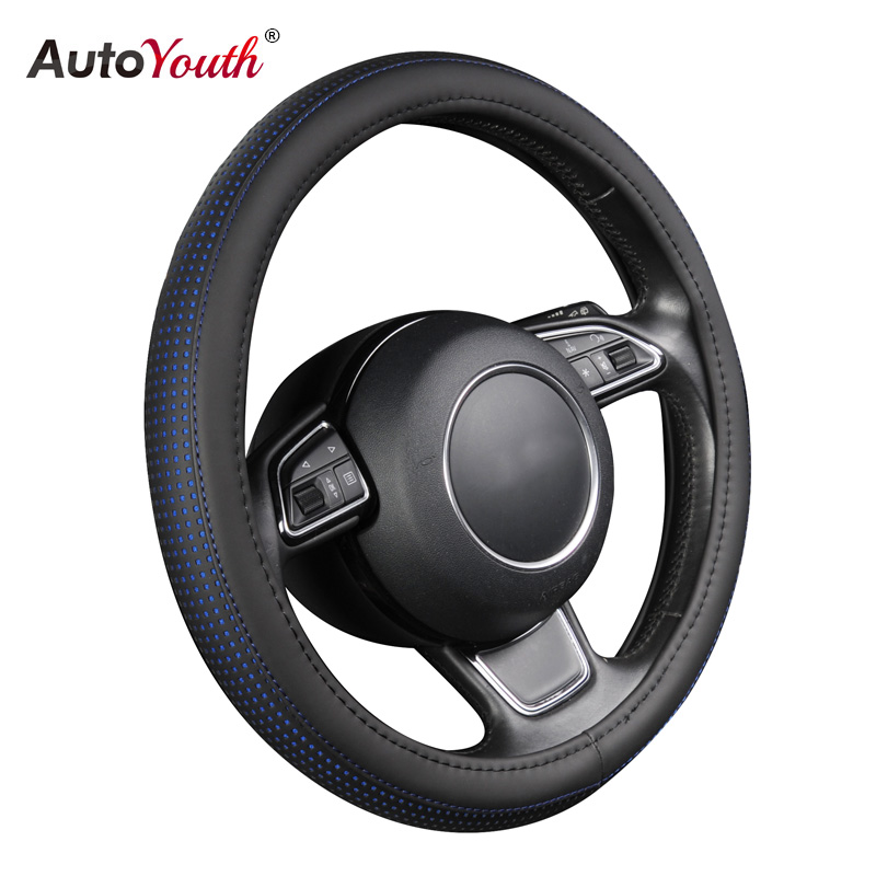 PU Leather Auto Steering Wheel Cover Hot Wheels AUTOYOUTH Blue Color Fits 37-38 cm Car Styling For ford mondeo mk4 lada vesta