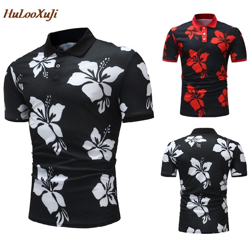 HuLooXuJi Men   Polo   Shirts Casual Brand Summer Cotton Short Sleeve Floral Printed   Polo   shirts US Size:M-3XL