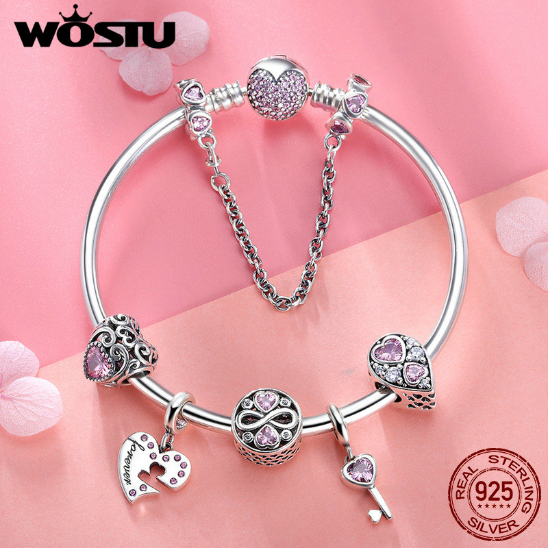 WOSTU Original Brand 925 Sterling Silver Romantic Love Pink Heart CZ Charm Bracelet For Women Beads Jewelry Lover Gift BKB811 wostu 2018 luxury brand 925 sterling silver heart love pendant necklaces for women with aaa zircon jewelry gift for lover cqn025