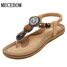 Summer Women Sandals For 2016 String Bead Sweet Style Flip Flops Elastic Band Casual Flats Shoes Woman Size 35-42