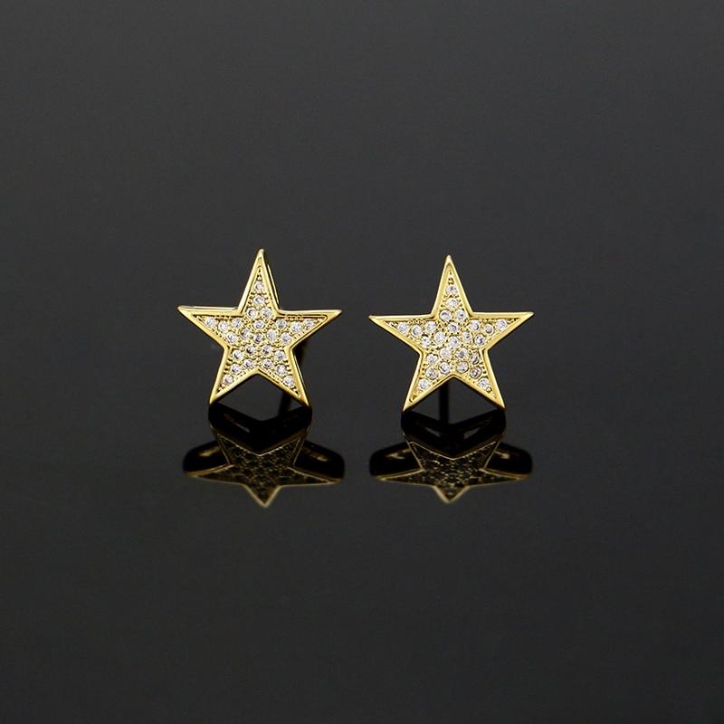 LuReen Luksusowy Złoty Srebrny Gwiazda Kolczyki męskie Micro Pave - Modna biżuteria - Zdjęcie 6