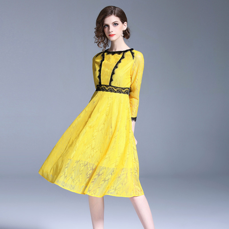 High Quality Fashion Woman Yellow Lace Dresses 2019 Spring Self Tie Stand Collar A Line Long Sleeve Slim Designer Mini Dresses