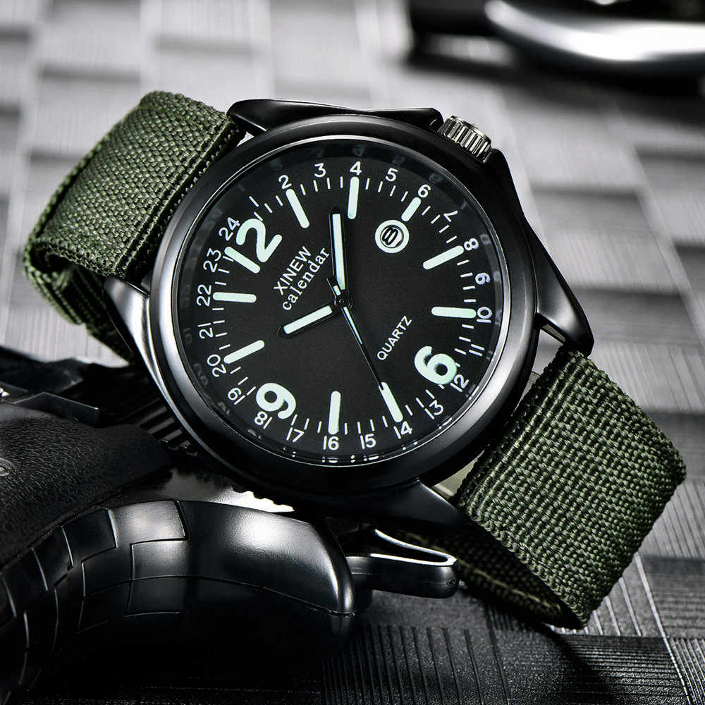 Military Mens Quartz Army Watch Black Dial Date  erkek saat Sport Wrist Watch new Relojes NEW Mens Watches Luxury Fashion