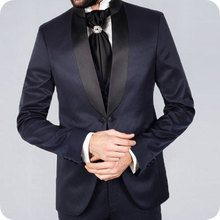 Navy Blue Mens Wedding Suits Black Shawl Lapel Slim Fit Tuxedos Groom Wear Ternos Two Pieces Jacket Pants Costume Homme