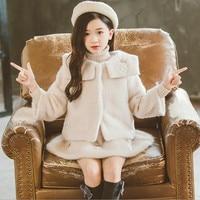 Teenagers Girl Clothes Winter Children Sets Long Sleeve Thicken Woolen Coat+Vest Dress 2PCS Suits Princess Girls Clothing 4 16T