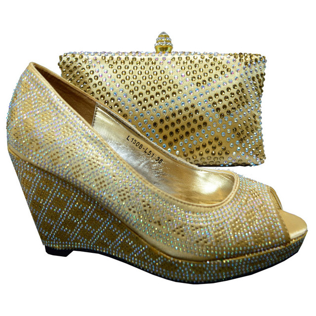 Hot Ing Italian Bags With Matching Shoes Set For Party Gold Top Quality Wedding And