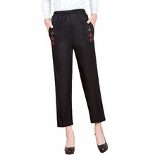 WAEOLSA Chinese Middle Aged Woman Black Pant Autumn Elderly Women Embroidery Trouser Mother Casual 40S 50S 60S Trousers 4XL