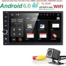 "Android6.0 2Din GPS Del Monitor Del Coche Universal Reproductor de Radio Estéreo 7""Quad núcleo volante Bluetooth OBD2 DVR DTV DAB + trasero cámara"