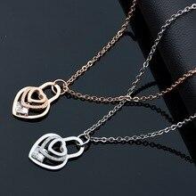 Rosa de Oro/de Plata Del Corazón de Cristal Declaración Collar de Cadena Colgantes de Kingdom Hearts Collares para Las Mujeres 2016 Bijoux Accesorios