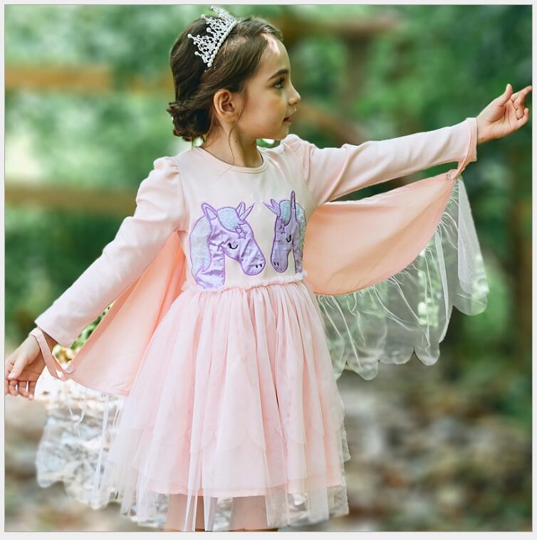 Enfants filles Halloween licorne robe de soirée petites filles anniversaire ailes douces dentelle à plusieurs niveaux robe de princesse costume enfant en bas âge