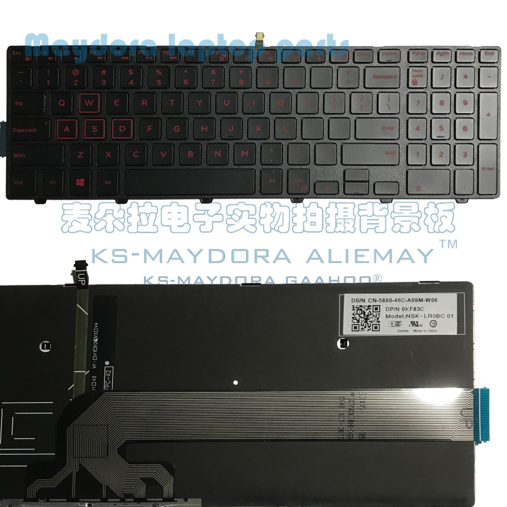 Laptop Backlit Keyboard Compatible for Dell Inspiron 15 3552 5552 US Layout Black Color
