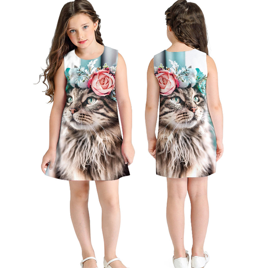 Teen Toddler Kid Girl Summer Sleeveless 3D Print Cartoon Dresses Casual Clothes Kids Party Dresses Individual Leisure CostumeTeen Toddler Kid Girl Summer Sleeveless 3D Print Cartoon Dresses Casual Clothes Kids Party Dresses Individual Leisure Costume