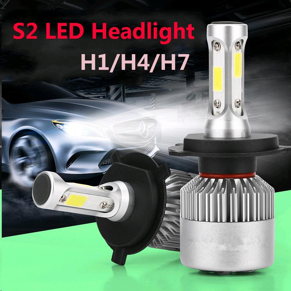 2x H1 H8 H9 H11 9006 HB4 H4 HB2 9003 H7 LED Headlight Kit 72W 7200LM 6000K White S2 Car Bulbs Lamps Light H4 led car headlight