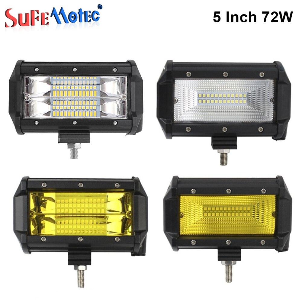 2 шт. 5 дюймов 72 Вт светодио дный работа светлая полоса белый желтый для бездорожья 4X4 грузовики 4WD лодку автомобильный велосипед вождения Тум...