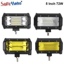 2 шт. 5 дюймов 72 Вт светодиодный свет работы бар белый желтый для бездорожья 4X4 грузовики 4WD лодка автомобильные велосипед вождения Туман Палочки до лампы 12 В 24 В