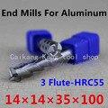 Новая 3 Флейта головка: 14 мм алюминиевая фреза Концевая фреза фрезерование алюминиевой резки твердость: 55HRC CNC инструмент 3F14*14*35*100 мм