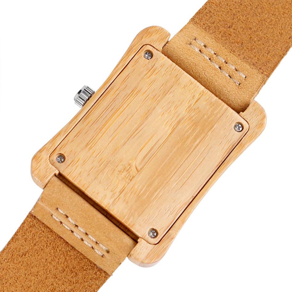 Minimalist Creative Wooden Watch Modern Mens Rectangle Dial Bamboo Leather Band Nature Wood Quartz Wrist Watch Reloj de madera (4)