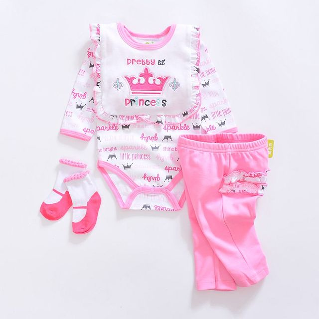 2d45ea4b4ee7 baby girl Clothing Sets summer cotton Animal style baby clothes Newborn  suits 4pcs long sleeve infant rompers+pants+socks+Bib
