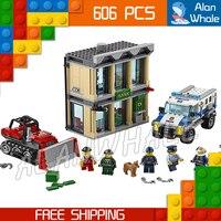606pcs City Police Bulldozer Break In Model Building Blocks 02019 Assemble Bricks Children Toys Station Compatible