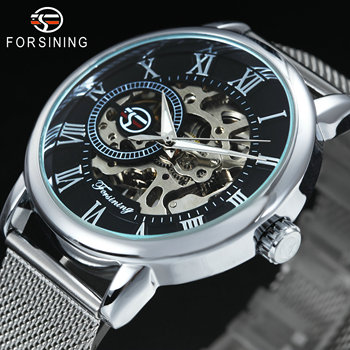 FORSINING Mens Watches Top Brand Luxury Mechanical Watch for Men Skeleton Dial Ultra Thin Mesh Strap Roman Numerals Wristwatch