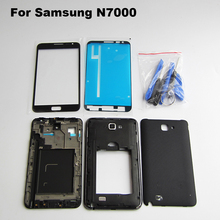 White/Black Original Full Housing Cover Case & middle frame & battery door & front Outer glass For Samsung Galaxy Note 1 N7000