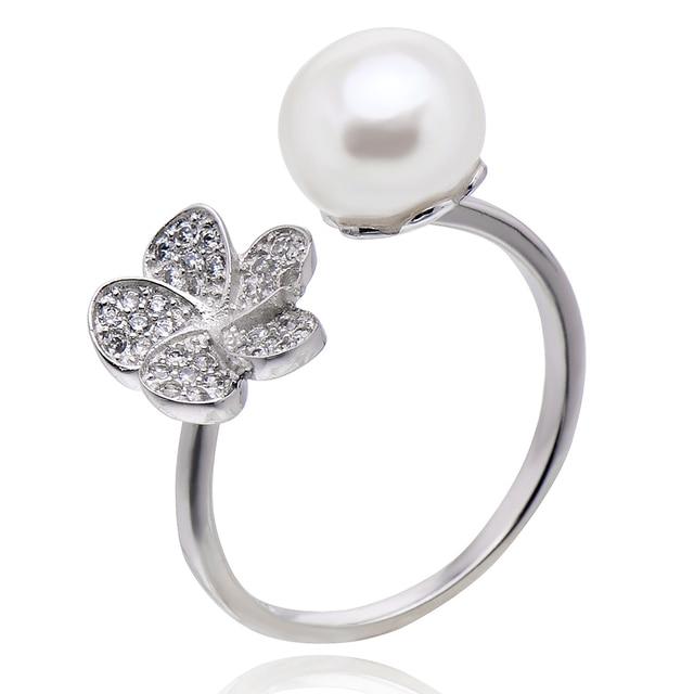 FEIGE 8-9mm Pan en forma de Perlas de Agua Dulce Naturales Anillos Para Las Mujeres de Plata de Ley 925 Con Incrustaciones diamantes de imitación de Joyería Fina