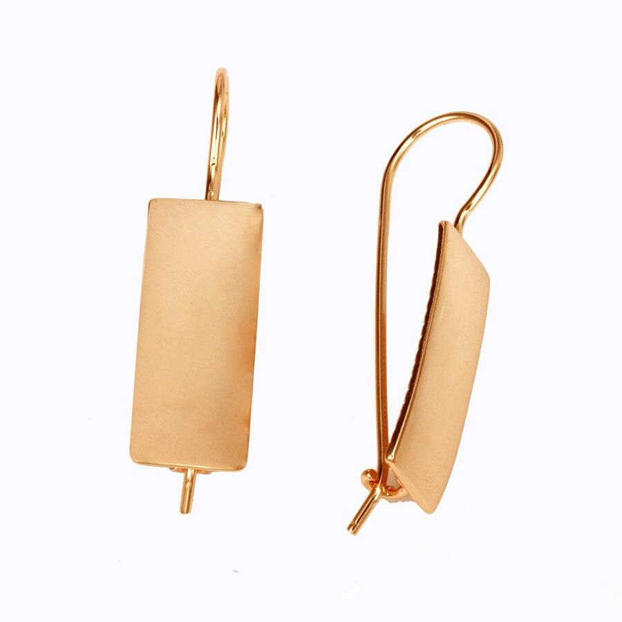 все цены на 2018 New Fashion Trendy 585 Gold Color Jewelry Luxury Brass Women Earrings Square Shape Long Women Drop Earrings онлайн