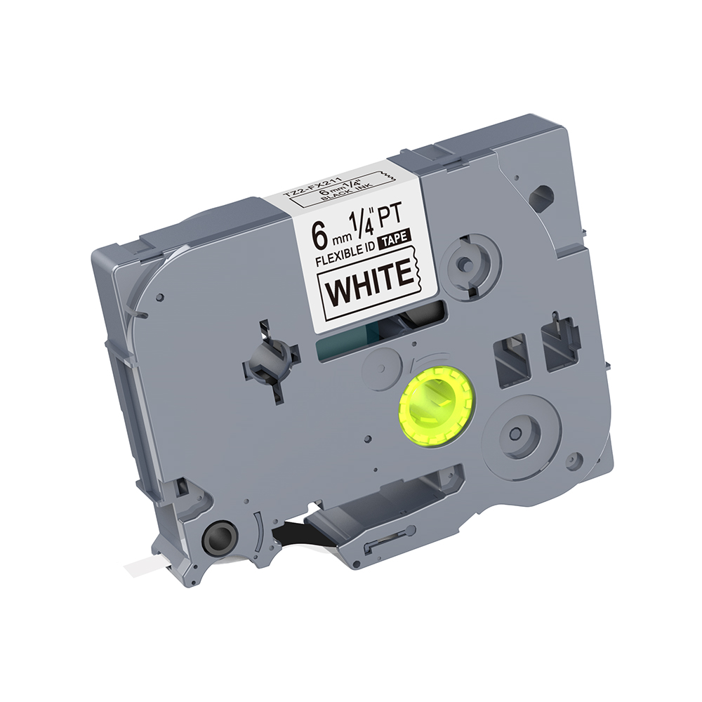 1PCS Compatible TZ Flexible Label Tape TZ-FX211 TZe-FX211 6mm Black On White Cable Cassette For Brother P-touch Printer