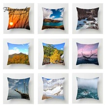 Fuwatacchi Scenic Cushion Cover Ocean Forest Dusk  Soft Throw Pillow Decorative Sofa Case Pillowcase