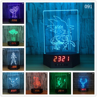 Dragon Ball Heart Bear Ship 3D Illusion Calendar Clock Lamp LED USB 7 Colors Night Light Remote Touch Table Lamp For Home Decor