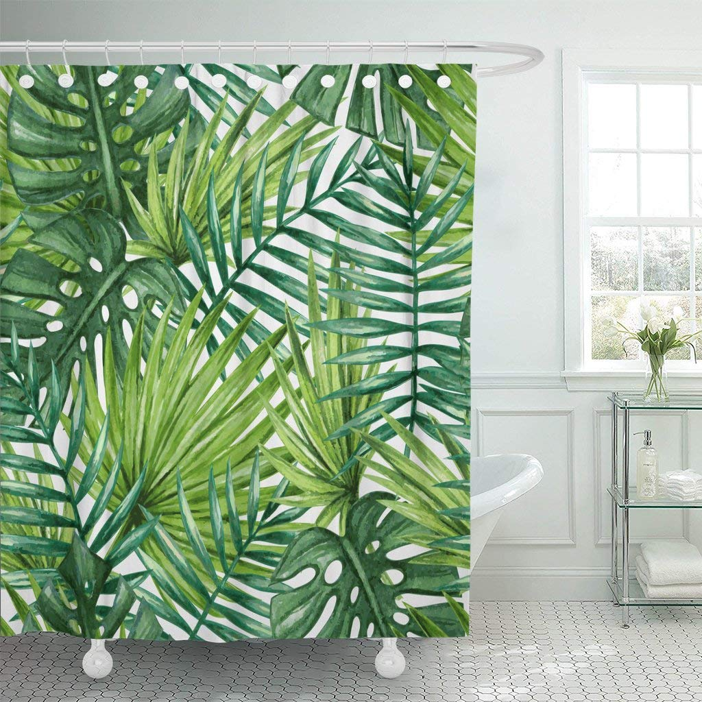 Shower Curtain Curtains Green Leaf Watercolor Tropical Palm Leaves Colorful Tree Rainforest Jungle Hawaii Extra Long Decor
