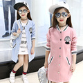 2017 spring new girl fashion brand long coat Embroidered Baseball long sleeve jacket kids clothing teenager girls outwear 13 age