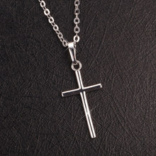Mens Womens Stainless Steel Cross Pendant Necklace Golden / Silver Chain For Party(China)