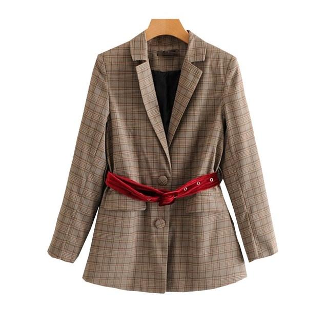 Chaqueta a cuadros para mujer chaqueta a cuadros para trabajo de oficina  chaqueta con botones de fc2bf0c539ff