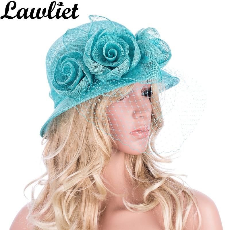 1 Stücke Lawliet Frauen Damen Sinamay Hüte Für Kentucky Derby Hochzeit Ascot Kirche Cloche Kleid Hüte