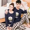 Bajo Precio Nuevo 2017 pijamas de Los Amantes de las mujeres de manga larga primavera fina conjuntos de pijamas de los hombres par de pijamas para hombres ropa de dormir conjunto puro traje